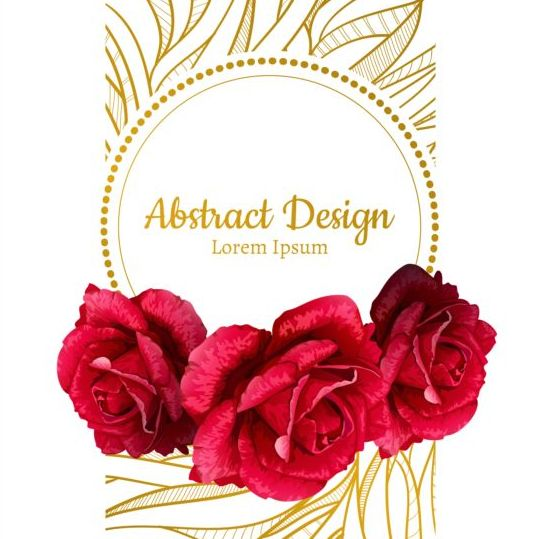 Rose with ornate golden card vector 03