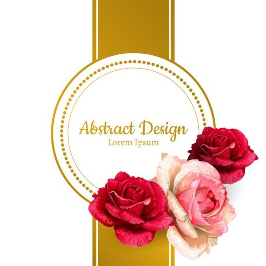 Rose with ornate golden card vector 02