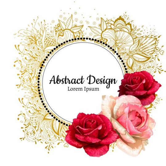 Roses with floral frame vector 03