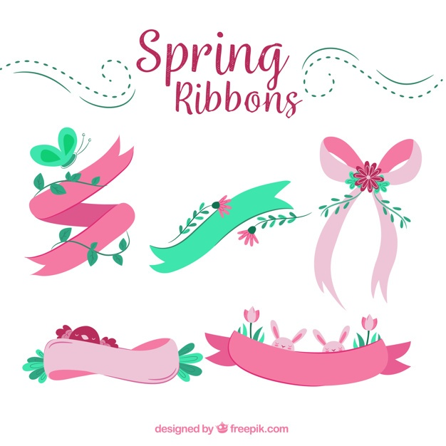 Set of five decorative spring ribbons