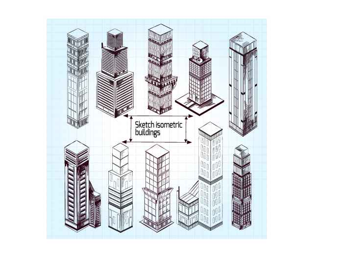 Sketch isometric buildings vector material
