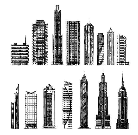 Sketch skyscrapers vector material