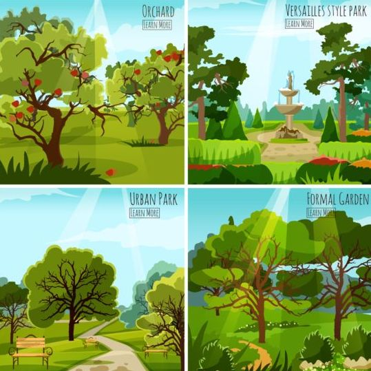 urban park landscapes vector material 02