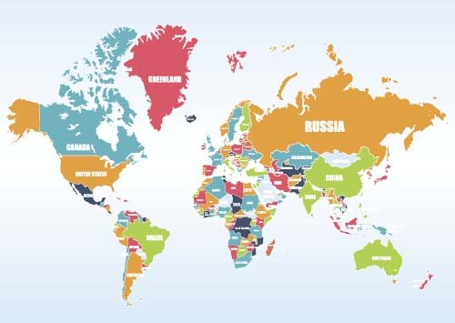 Vector colored world maps template 05