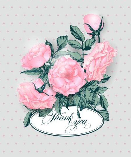 Vintage card with pink flower vector 01