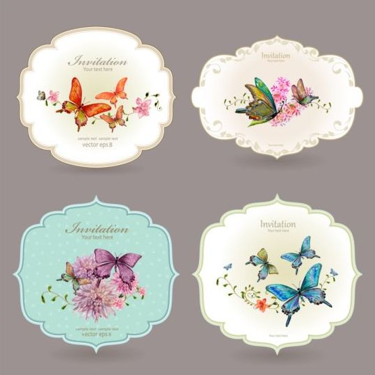 Vintage invitation cards with butterfly vector