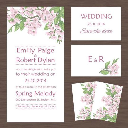 Wedding invitation card with autumn flower vectors