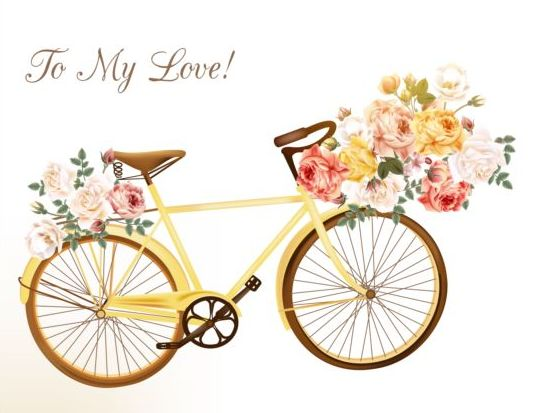 Yellow bisycle with rose flowers vector