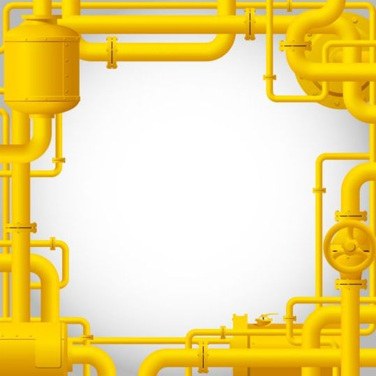 Yellow pipes frame vector material