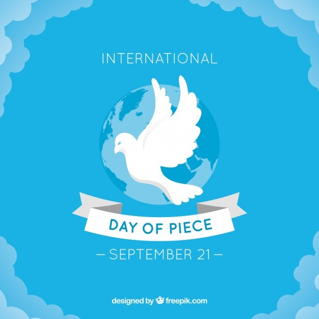 Blue peace day background with white dove