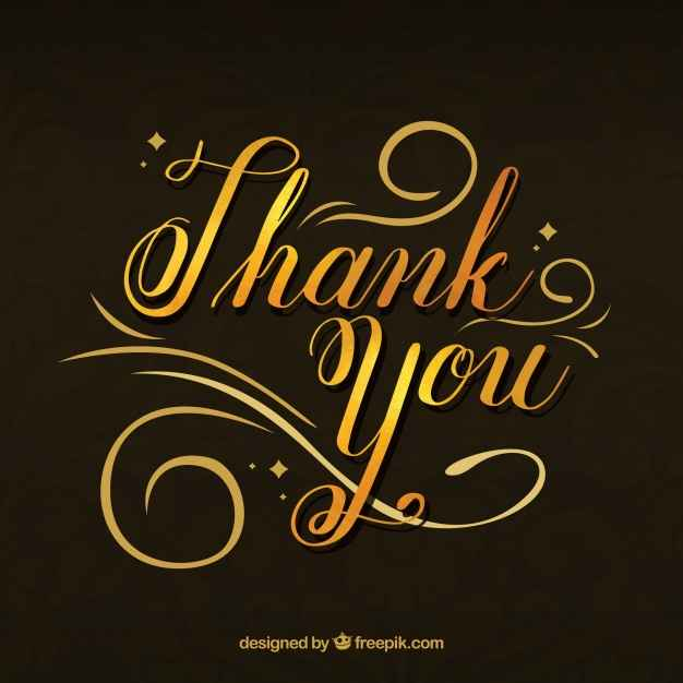 """Elegant background of golden lettering with the text """"thank you"""""""