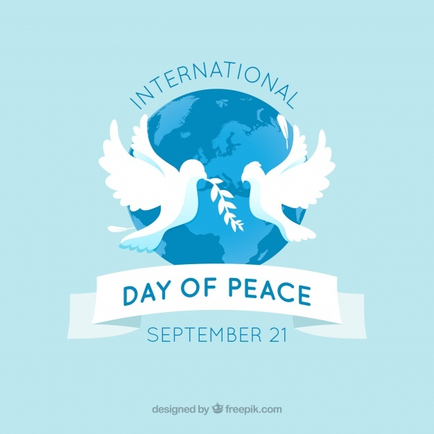 Peace background in the world with doves