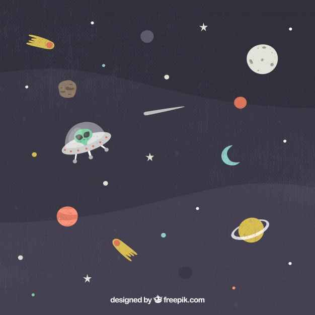 Space background with flying saucer