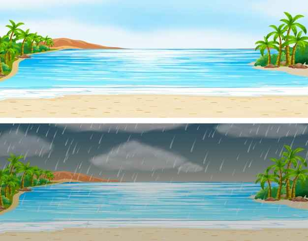 Two scenes of ocean on sunny and rainy days