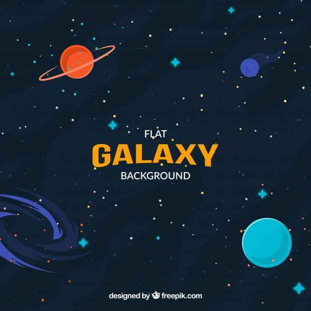 Universe background in flat design