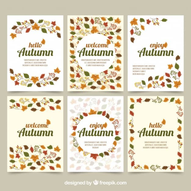 Autumn cards with leaves and elegant style