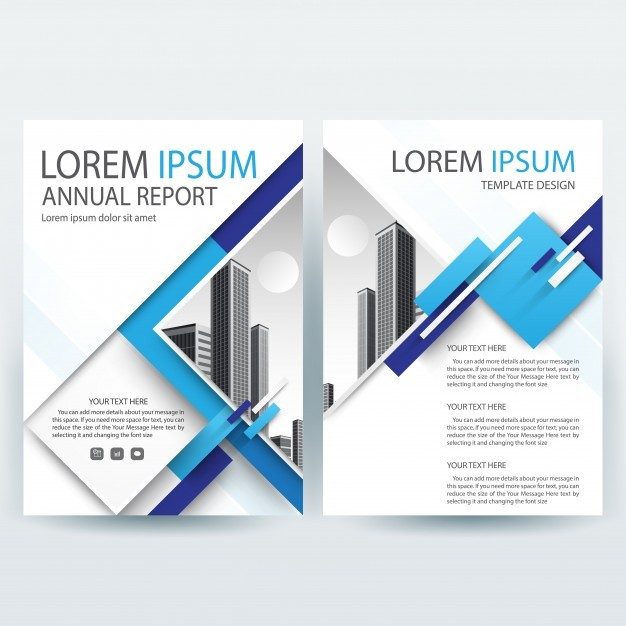 Business brochure template with Blue Geometric shapes
