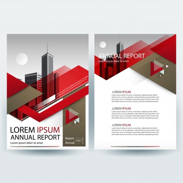 Business brochure template with Red and Brown Geometric shapes