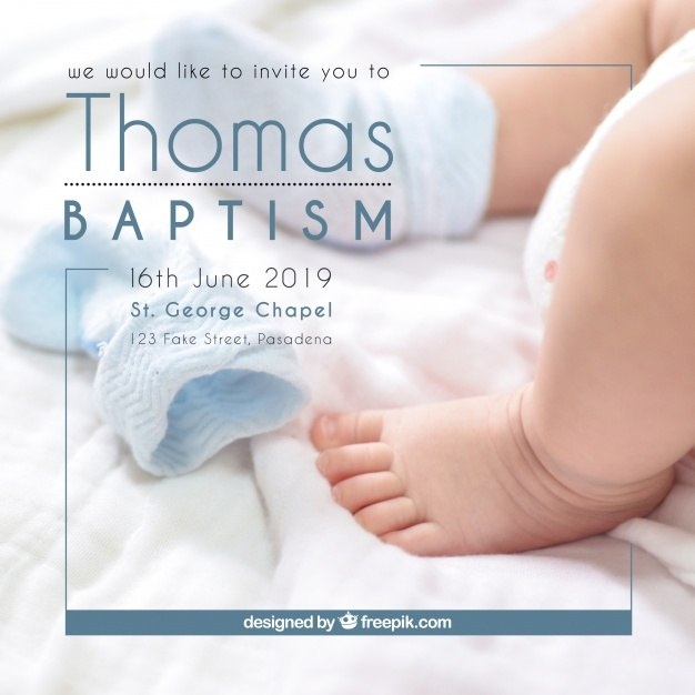 Christening invitation, simple style