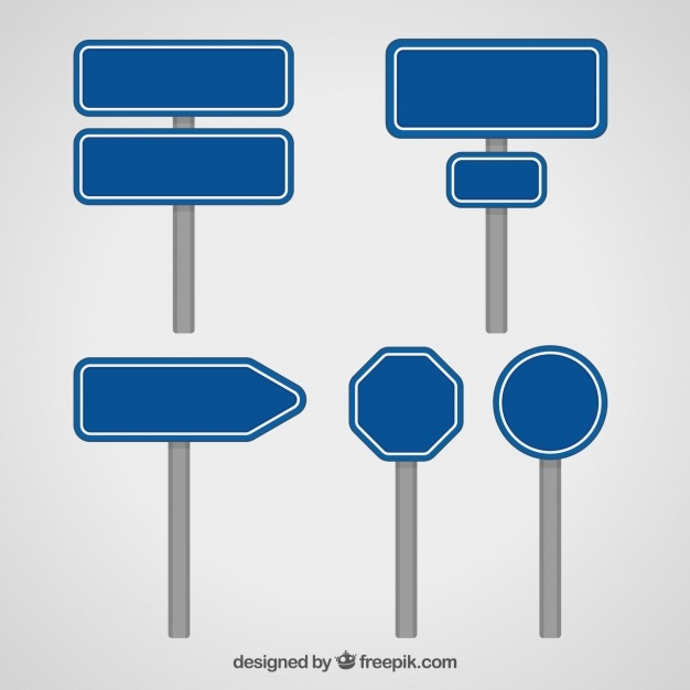 Collection of blue traffic sign