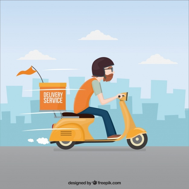 Deliveryman driving fast his scooter