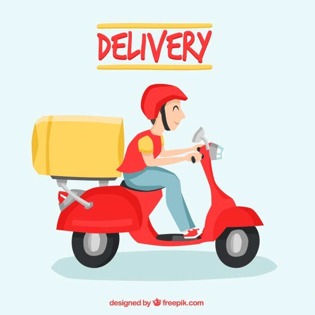 Happy deliveryman with fun style