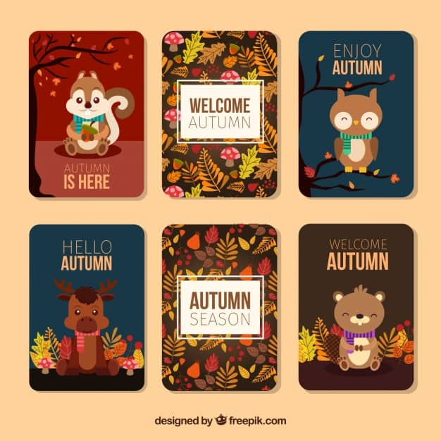 Lovely autumn cards with animals