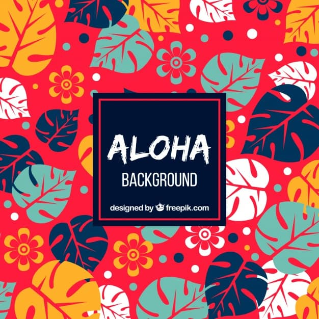 Red background with colorful tropical leaves
