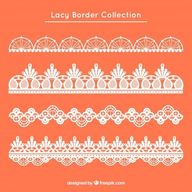 Set of four retro lace borders