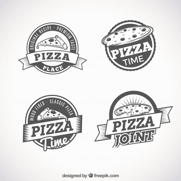Set of retro logos of pizzas