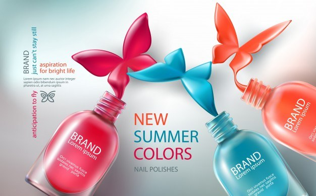 Vector illustration collection of colored open bottles with nail polish spilled in form of butte ...