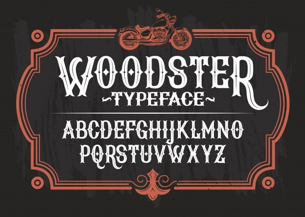 Vector illustration of a vintage font, the Latin alphabet in a retro frame with a custom motorcycle