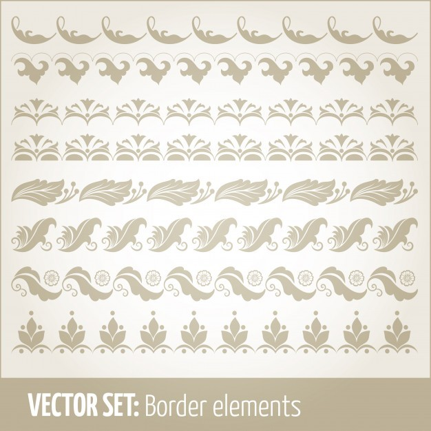 Vector set of border elements and page decoration elements. Border decoration elements patterns. ...