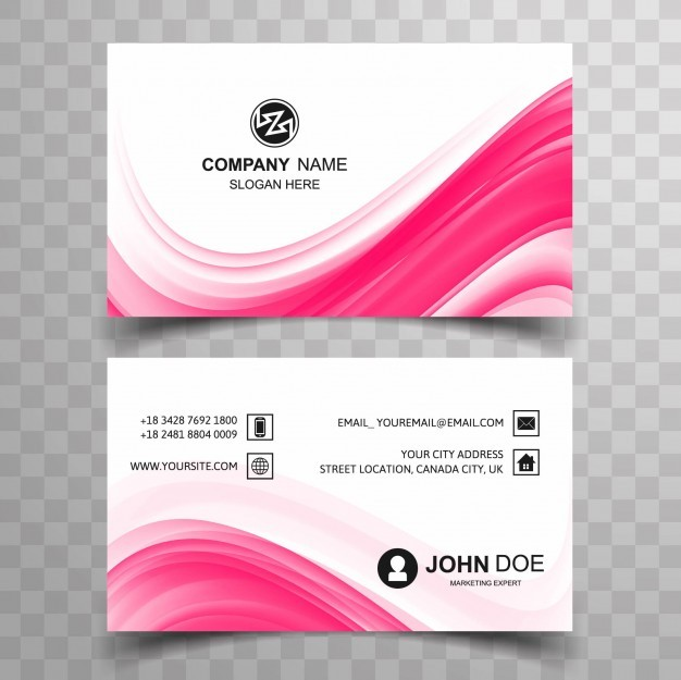 Wavy pink visiting card