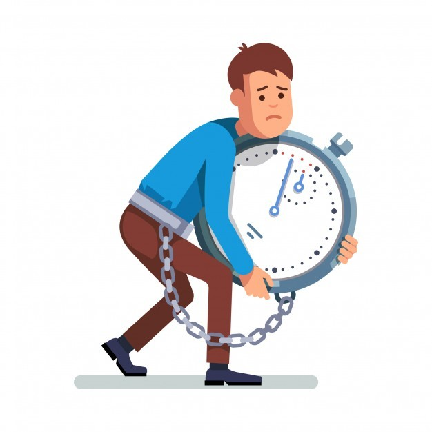 Businessman chained to clock