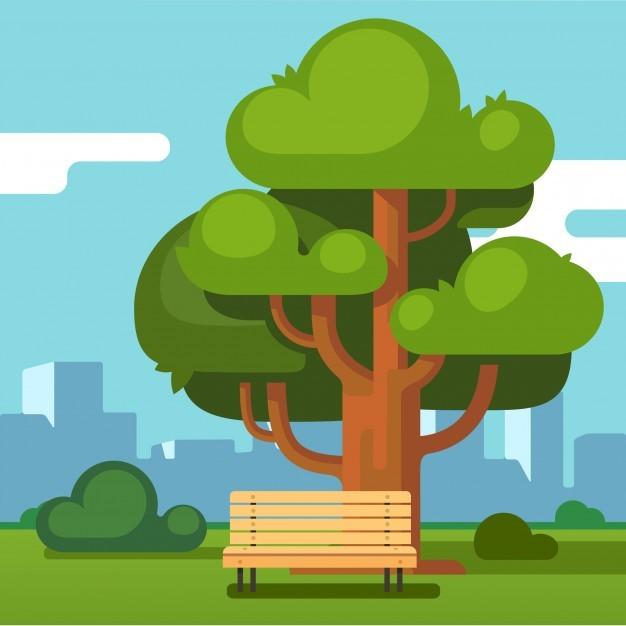 City park bench under an oak with urban landscape