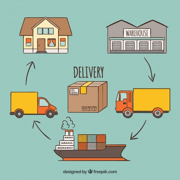Delivery concept with transports