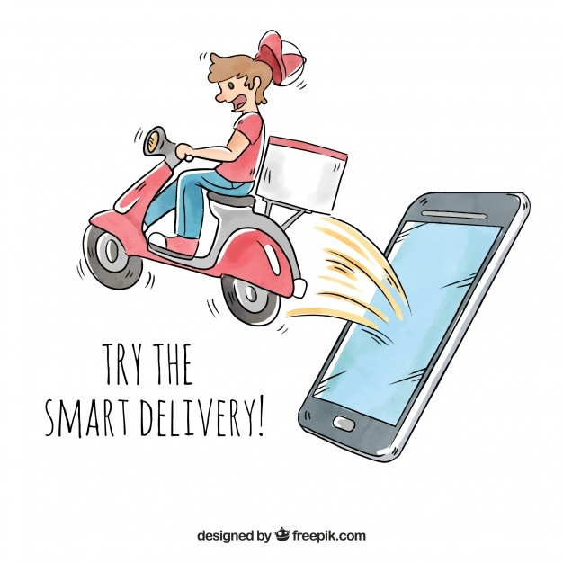 Delivery man with scooter coming out phones screen