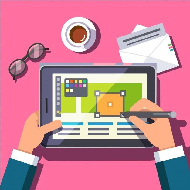Designer working on a tablet computer