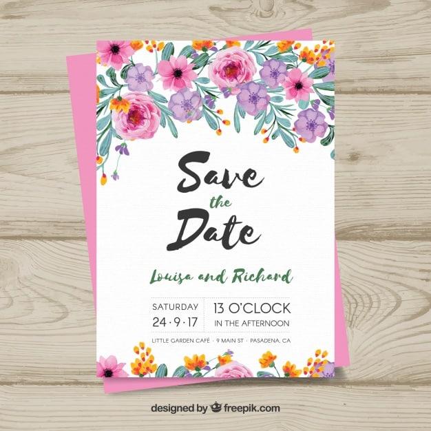 Floral wedding card design