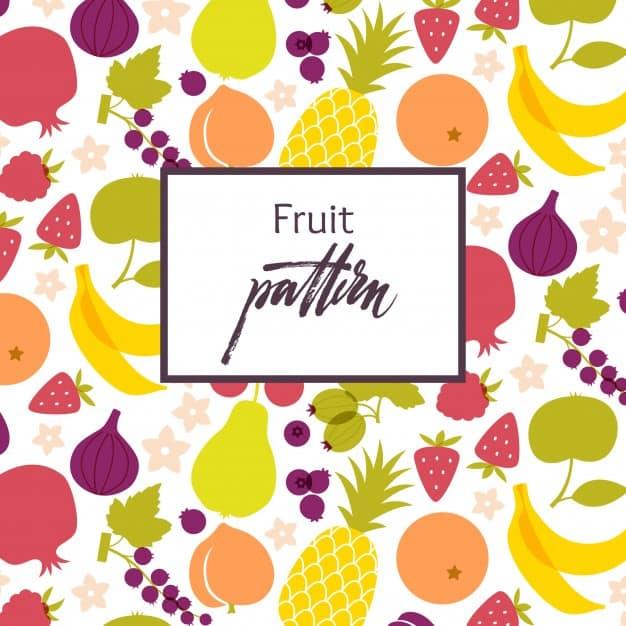 Fruit pattern. Healthy food table. Vegan and vegetarian cuisine