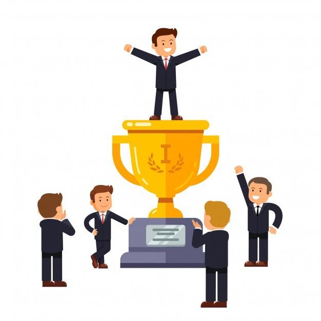 Leader standing on big winner golden cup