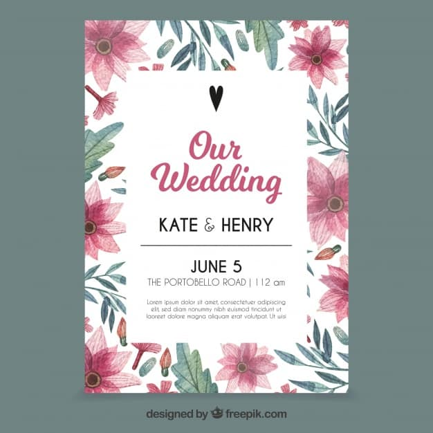 Lovely wedding invitation with watercolor flowers