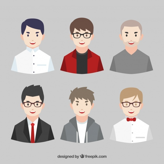 Pack of young men avatars