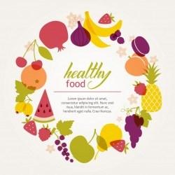 Round frame of fresh juicy fruits. Healthy diet, vegetarianism and veganism