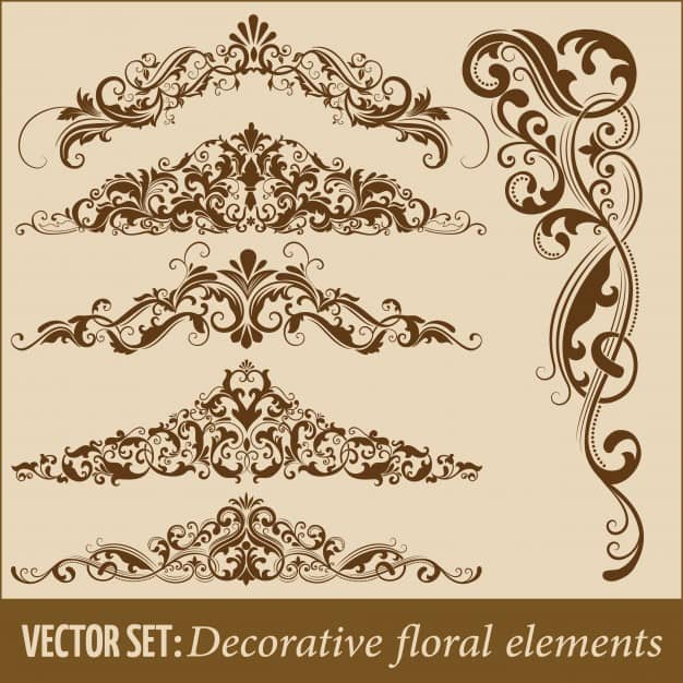 Set of hand drawn decorative vector floral elements for design