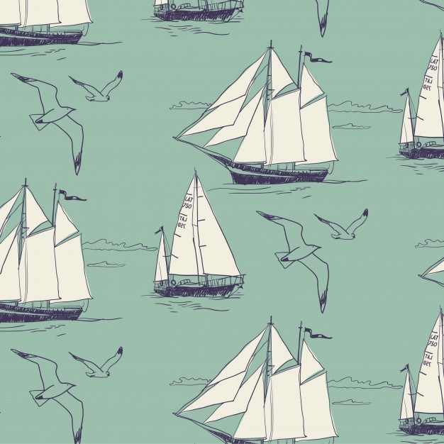 The yacht sail the ocean. Seamless pattern