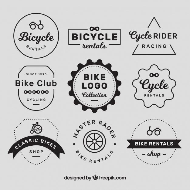 Vintage bike logos with elegant style