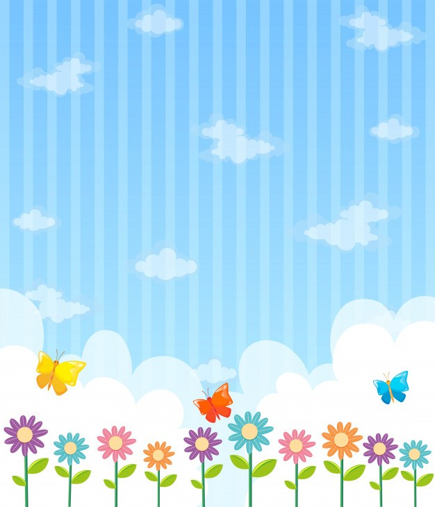 Background design with flowers and blue sky