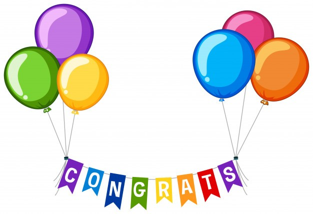 Background design with word congrats and colorful balloons